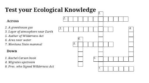 Monday Crossword Puzzle – Test your Ecological knowledge!