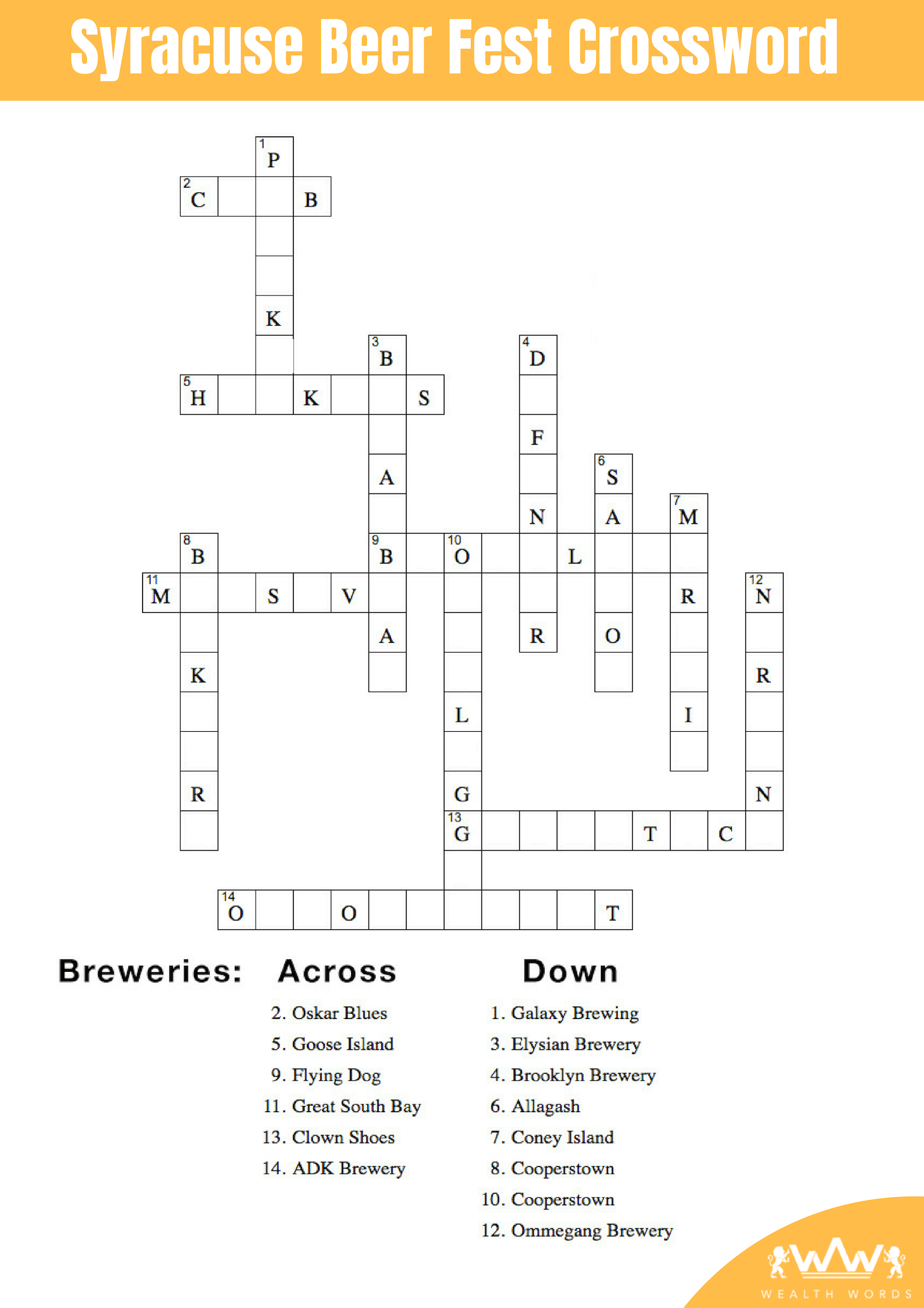 Syracuse Beer Fest Crossword