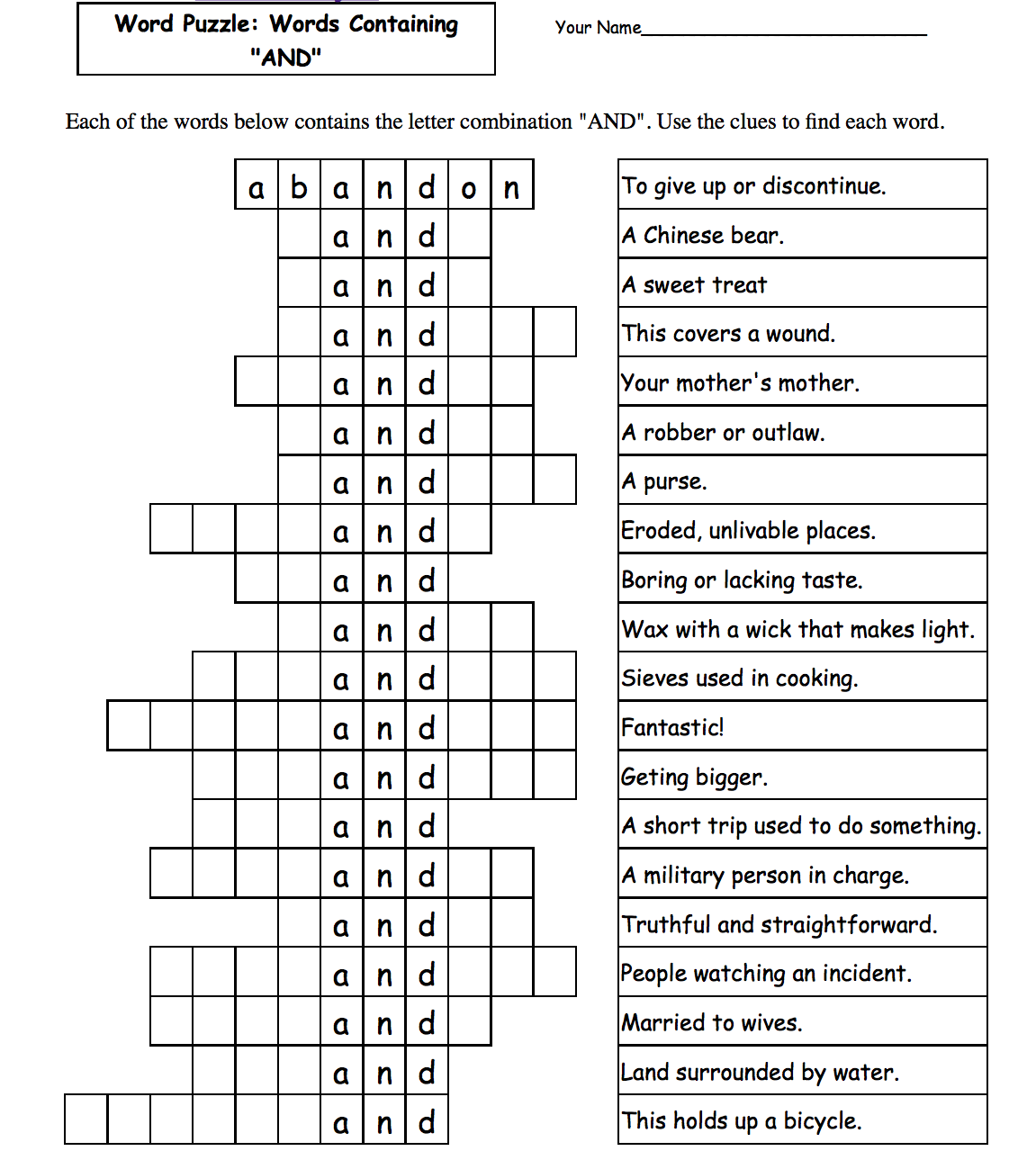 This is a photo of Printable Word Fill Ins Puzzles within book free word