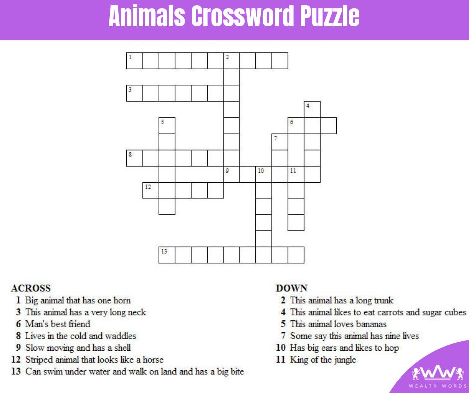 Monday Puzzle - Animals Crossword Puzzle