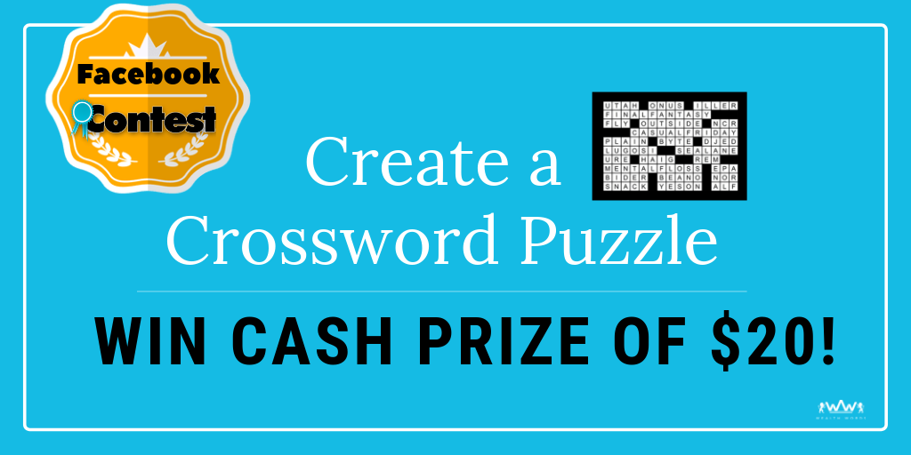 Create a Crossword Puzzle, win cash prizes, online crossword, word puzzle game, facebook contest, crossword constructor